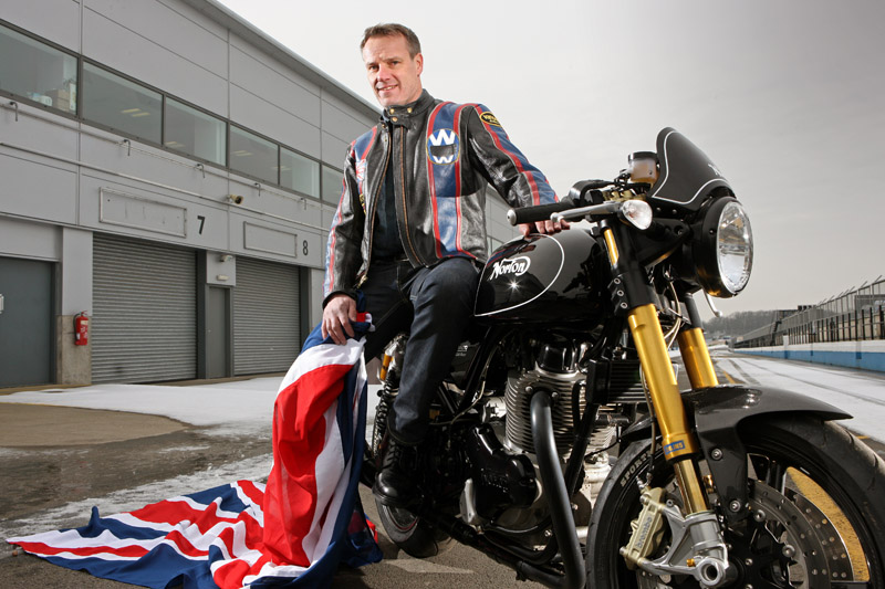 BUSINESS: Proud to be keeping it British - Stuart Garner, CEO of Norton Motorcycles based at the Donington Park race circuit located on the Derbyshire / Leicestershire border; he is pictured in the pit lane with a Norton 961cc hand built bike. In recent years Stuart bought the production rights to Norton motorcycles and is now busy developing the new 15,000sq ft Norton factory at Donington Park to develop the Dreer-based machine, a 961cc motorbike with racing pedigree. Pic by: RICHARD STANTON. Tel: (01584) 878990 / Mob: (07774) 286733. Email: Rich5@compuserve.com All rights © 09/02/12. www.stantonphotographic.com